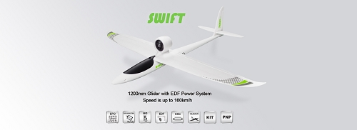 TOP RC 1200mm Swift EPO Sport EDF Glider RC Plane PNP