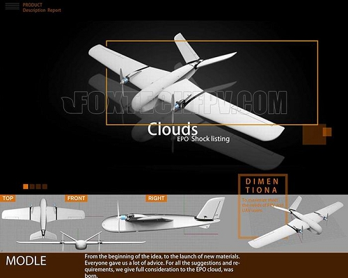 X-UAV 1880mm Clouds FPV RC Plane KIT No Electronics